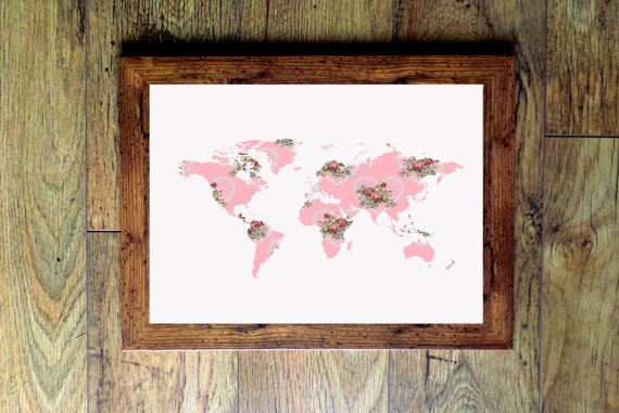 Floral Pink World Map Poster
