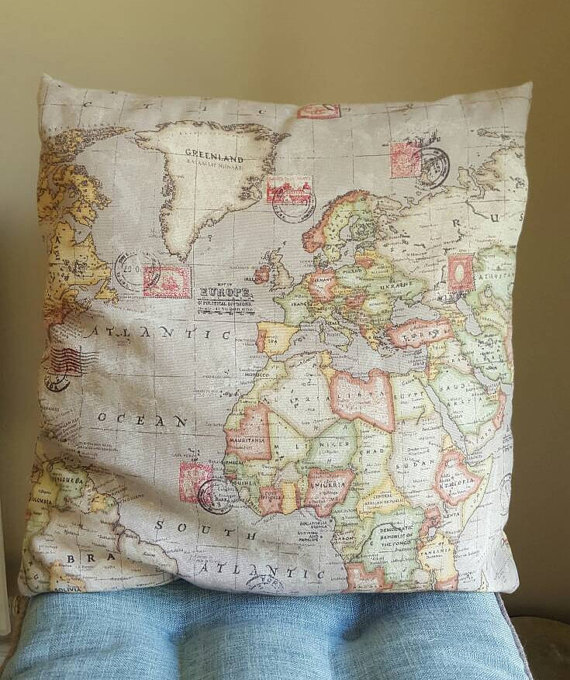 World Map Cushion Cover