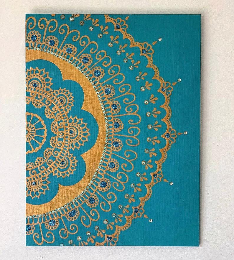 Maz Designs teal canvas